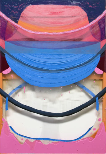 "Elise Thompson, Lap, 2018, acrylic on watercolor paper, and clear vinyl, 44 x 30"" Courtesy of the artist."