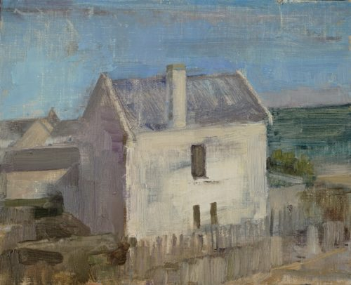 """Beth Bernhardt, """"A House by the Sea"""", 2020, oil on linen mounted on wood, 8.6 x 10.6 in., Courtesy of the Artist"""