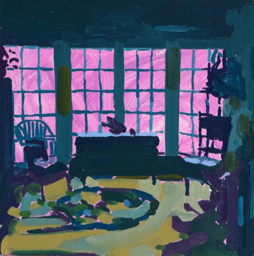 "Tessa G. O'Brien, ""Green Room"", 2020, oil on panel, 14 x 14 in. Courtesy of Elizabeth Moss Galleries"