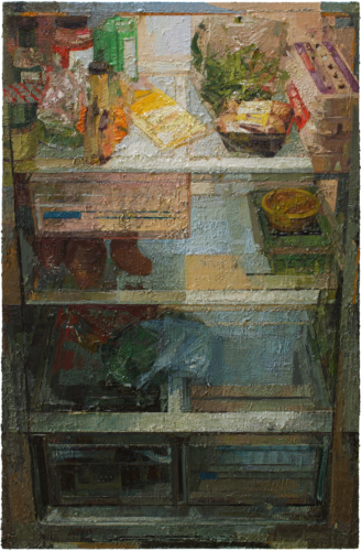 """Zoey Frank, """"Refrigerator"""", 2019, oil on panel, 40 x 26 in. Courtesy of the Artist."""