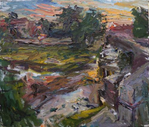 "Ulrich Gleiter, "" Sunset in Perrigny"", 2020, Oil on Linen, 23.7"" x 27.5"", Courtesy of Gallery Sandau & Leo"