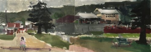 """Anh Nguyen, """"Balmy Grey Day (Austinmer, November)"""", 2020, oil on oil paper mounted on board, 23.5 x 8 in. Courtesy of the Artist."""