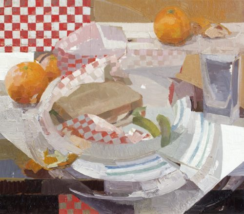 """Zoey Frank, """"Sandwich #2"""", 2018, oil on panel, 14 x 16 in. Courtesy of the Artist."""