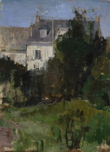"Beth Bernhardt, ""November in the Garden"", 2020, oil on linen mounted on wood, 12 x 16 in. , Courtesy of the Artist"