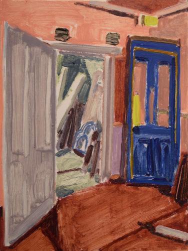 "Tessa G. O'Brien, ""Blue Door"", 2020, oil on panel, 6 x8 in. Courtesy of Elizabeth Moss Galleries"