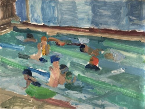 """Anh Nguyen, """"Swimming Lessons (Red Cap)"""", 2020, oil on Yupo mounted on board, 9 x 12 in. Courtesy of the Artist."""