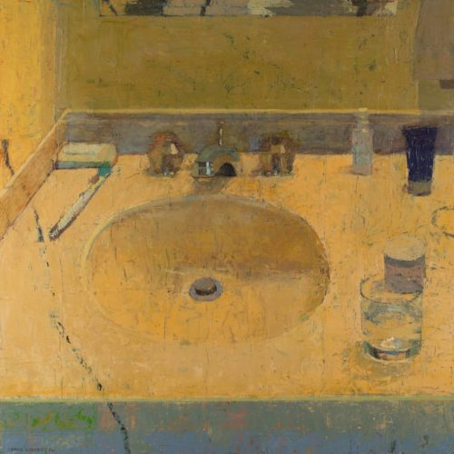 """Chris Liberti, """"Inevitable Sink"""", 2016, oil on wood, 15x15 in. Courtesy of the Artist"""