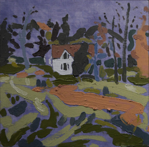 "Tessa G. O'Brien, ""Perry Barn, Dusk,"" 2019, oil on dyed linen, 10"" x 10"" Courtesy of Elizabeth Moss Galleries"