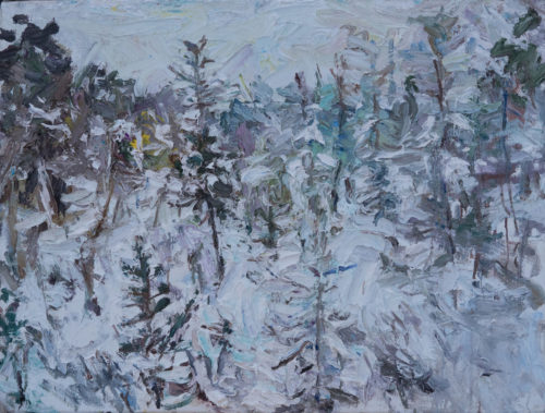 """Ulrich Gleiter, """"Winter in Lapland"""", 2019, Oil on Canvas, 23"""" x 31"""", Courtesy of Gallery Helle Coppi"""
