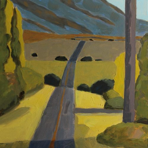 """Loraine Stephanson,""""Daly Road, Cawston"""", 2017, Oil on Archival Panel, 6"""" x 6"""", Courtesy of the Artist"""