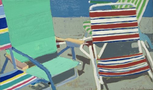 """Mitchell Johnson """"Five Chairs (Spider),"""" 2021 16x27 inches oil/linen. Courtesy of the artist."""