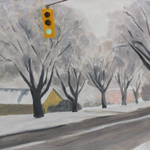 "Loraine Stephanson, ""Green Light"", 2019, Oil on Archival Panel, 6"" x 6"", Courtesy of the Artist"