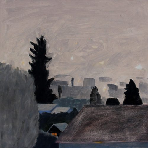 "Loraine Stephanson, ""Nightfall"", 2018, Oil on Archival Panel, 8""x 8"", Courtesy of the Artist"