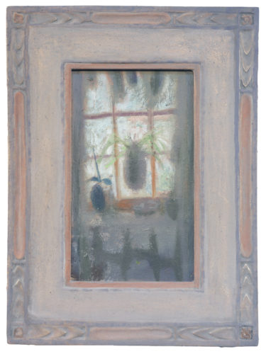 """Alex Cohen, """"Spiderplant"""", 2020, oil on board, cast carved frame, 10""""x6"""", Courtesy of the Artist."""
