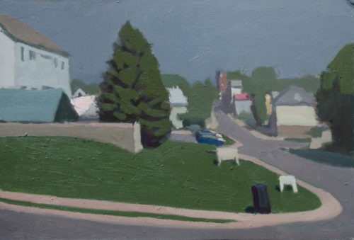 """Alex Cohen, """"View From Wendy's"""", 2019, oil on board, 9""""x14"""", Courtesy of the Artist."""